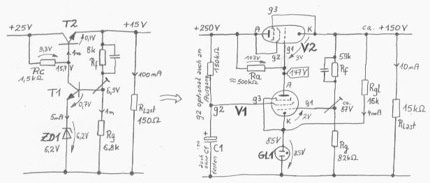 sehr einfacher spannungsregler mit transistor oder r hren. Black Bedroom Furniture Sets. Home Design Ideas